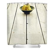 A Bowl Filled With Pears Shower Curtain by Priska Wettstein