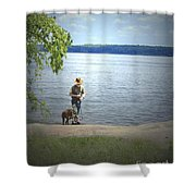 A Boy And His Dog Shower Curtain by Sandra Clark