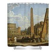 A Capriccio View Of Roman Ruins, 1737 Shower Curtain by Giovanni Paolo Pannini or Panini