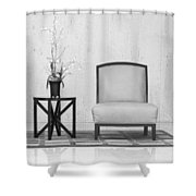A Chair And A Table With A Plant Shower Curtain by Rudy Umans