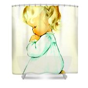 A Childs Prayer Shower Curtain by Charlotte Byj