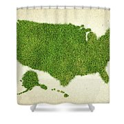 United State Grass Map Shower Curtain by Aged Pixel