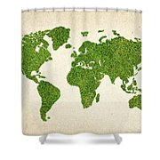 World Grass Map Shower Curtain by Aged Pixel