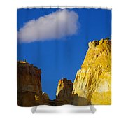 A Cloud Over Orange Rock Shower Curtain by Jeff Swan