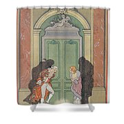 A Couple In Candlelight Shower Curtain by Georges Barbier