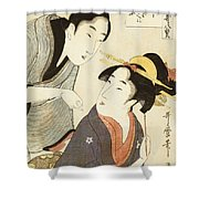 A Double Half Length Portrait Of A Beauty And Her Admirer Shower Curtain by Kitagawa Utamaro