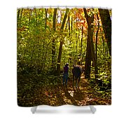 A Fall Walk With My Best Friend Shower Curtain by Sandi OReilly