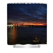 a flaming sunset at Tel Aviv port Shower Curtain by Ron Shoshani