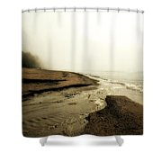 A Foggy Day At Pier Cove Beach Shower Curtain by Michelle Calkins