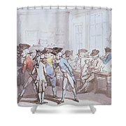 A French Coffee House Shower Curtain by Thomas Rowlandson