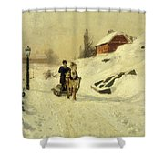 A Horse Drawn Sleigh In A Winter Landscape Shower Curtain by Fritz Thaulow