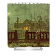 A Lady In A Garden By Moonlight Shower Curtain by John Atkinson Grimshaw