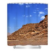 A Landscape Of Rocky Outcrops In The Desert Of Wadi Rum Jordan Shower Curtain by Robert Preston