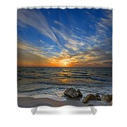 A Majestic Sunset At The Port Shower Curtain by Ron Shoshani