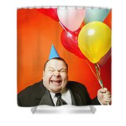A Man With Balloons Shower Curtain by Darren Greenwood