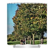 A Pair Of Cows Shower Curtain by Heather Applegate
