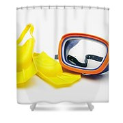 A Pair Of Flippers And Underwater Mask Shower Curtain by Ron Nickel