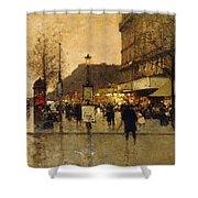 A Parisian Street Scene Shower Curtain by Eugene Galien-Laloue