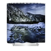 A River Flowing Through The Snowy Shower Curtain by Evgeny Kuklev