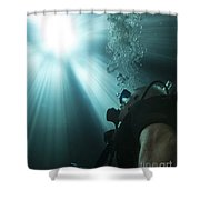 A Scuba Diver Surfacing And Looking Shower Curtain by Michael Wood