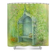 A Seat In The Garden Shower Curtain by Garry Walton