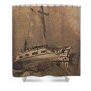 A Ship In Choppy Seas Shower Curtain by Victor Hugo