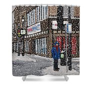 A Snowy Day On Wellington Shower Curtain by Reb Frost
