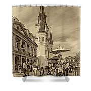 A Sunny Afternoon In Jackson Square Sepia Shower Curtain by Steve Harrington