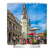 A Sunny Afternoon In Jackson Square Shower Curtain by Steve Harrington