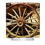 A Wagon Wheel Shower Curtain by Jeff Swan