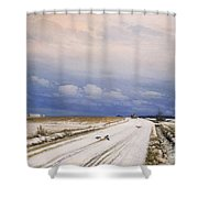 A Winter Landscape With A Horse And Cart Shower Curtain by Anders Andersen-Lundby