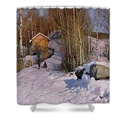 A Winter Landscape With Children Sledging Shower Curtain by Peder Monsted