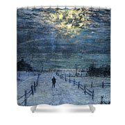 A Wintry Walk Shower Curtain by Lowell Birge Harrison