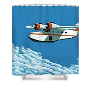 Above It All  The Grumman Goose Shower Curtain by Gary Giacomelli