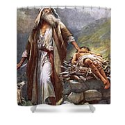 Abraham And Isaac Shower Curtain by Harold Copping