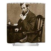 Abraham Lincoln Sitting at Desk Shower Curtain by Mathew Brady