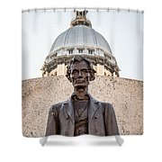 Abraham Lincoln Statue At Illinois State Capitol Shower Curtain by Paul Velgos