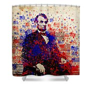 Abraham Lincoln With Flags Shower Curtain by Bekim Art