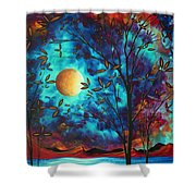 Abstract Art Landscape Tree Blossoms Sea Moon Painting Visionary Delight By Madart Shower Curtain by Megan Duncanson