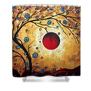 Abstract Art Landscape Tree Metallic Gold Texture Painting Free As The Wind By Madart Shower Curtain by Megan Duncanson