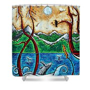 Abstract Art Original Alaskan Wilderness Landscape Painting LAND OF THE FREE by MADART Shower Curtain by Megan Duncanson