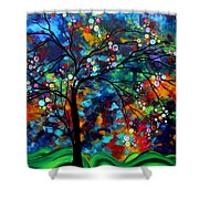 Abstract Art Original Landscape Painting Bold Colorful Design SHIMMER IN THE SKY by MADART Shower Curtain by Megan Duncanson