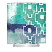 Abstract Aztec- Contemporary Abstract Painting Shower Curtain by Linda Woods
