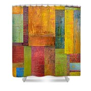 Abstract Color Study Collage L Shower Curtain by Michelle Calkins