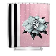 Abstract Contemporary Whimsical Pink Painting Gardenia Flower By Madart Shower Curtain by Megan Duncanson