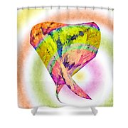 Abstract Crazy Daisies - Flora - Heart - Rainbow Circles - Painterly Shower Curtain by Andee Design
