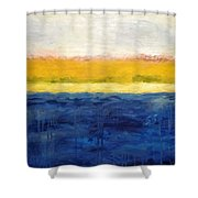 Abstract Dunes With Blue And Gold Shower Curtain by Michelle Calkins