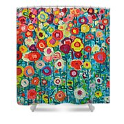 ABSTRACT GARDEN OF HAPPINESS Shower Curtain by ANA MARIA EDULESCU