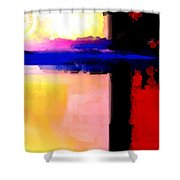 Abstract Impressions Of A Blue Horizon Shower Curtain by Karon Melillo DeVega