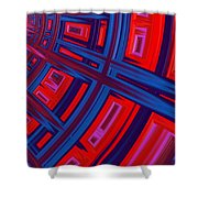 Abstract in Red and Blue Shower Curtain by John Edwards
